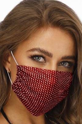 Rote atmungsaktive waschbare wiederverwendbare Mundmaske mit Nieten