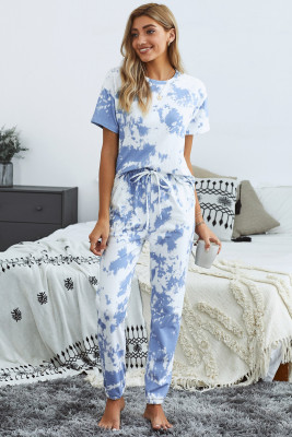 Blue Tie-dye T-shirt Pants PJ Set