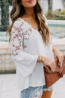 White Crochet Lace Button Top