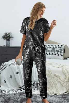 Black Tie-dye T-shirt Pants PJ Set