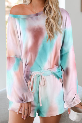 Multicolor Tie-dye Pajamas Loungewear Set