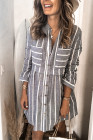 Gray Contrast Striped Buttoned Shirt Dress