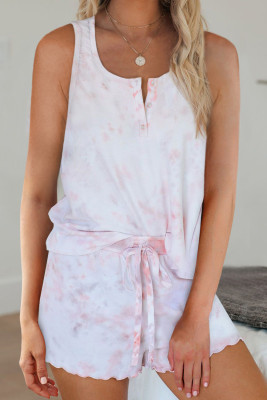 Pink Tie Dye Sleeveless Shorts Lounge Set