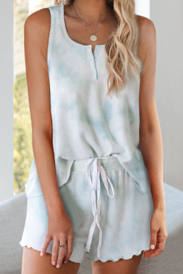 Sky Blue Tie Dye Sleeveless Shorts Lounge Set