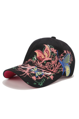 Black Floral Pattern Baseball Cap