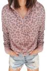 Sweat col léopard zippé rose