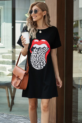 Black Lip Print Summer Casual Tee Mini Dress