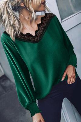 Grüne Bluse mit V-Ausschnitt und Patchwork