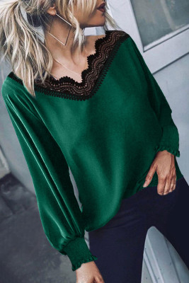 Blusa Verde Patchwork Encaje Cuello V
