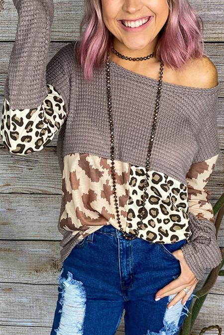 Вафельная блуза с леопардовым принтом