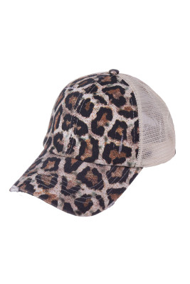 Leopard Multi Level Crisscross Pony Cap