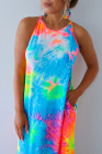 Multicolor Tie-dye Sleeveless Maxi Dress with Pockets