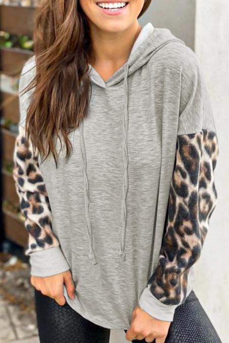Felpa con cappuccio manica leopardo grigia