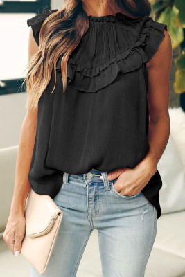 Black Frilled Detail Tulle Tank Top