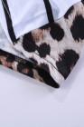 Camiseta de manga corta con estampado de leopardo y espalda abierta de rayas marrones