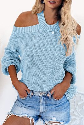 Sky Blue Cool Breeze Baumwolle Cold Shoulder Sweater