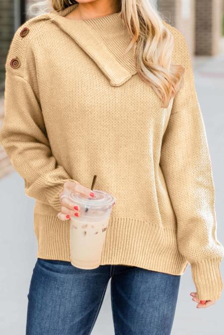 Pullover mit Aprikosenknopf und Wasserfallausschnitt
