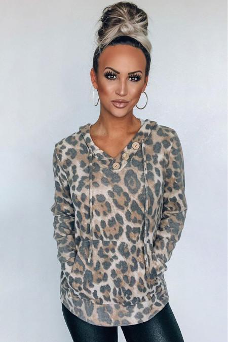 Känguru-Taschen-Hoodie mit Leopardenmuster