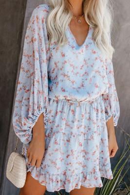 Himmelblaues V-Ausschnitt Laternenärmel-Blumen-Tunika-Kleid
