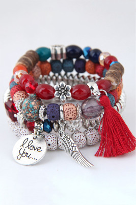 Red Alloy Wing and Cotton Threads Tassel Four Layers Beads Bracelet