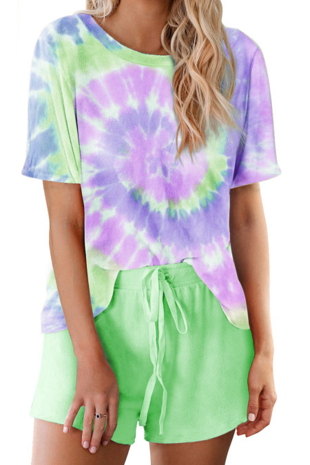 Green Tie Dye Printed Short Lounge Set
