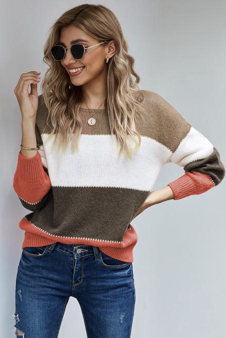 Jersey de invierno color block con jersey marrón