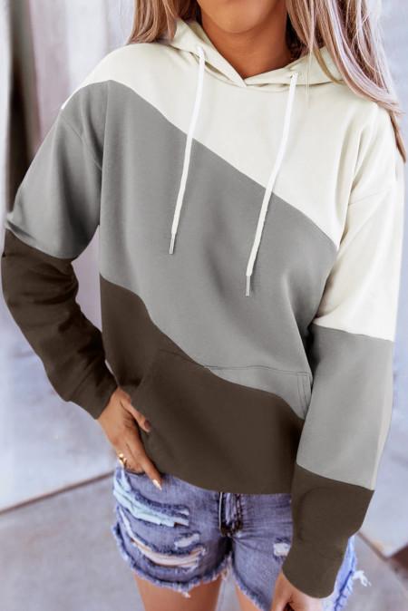 Sudadera con capucha gris con cordón de colorblock