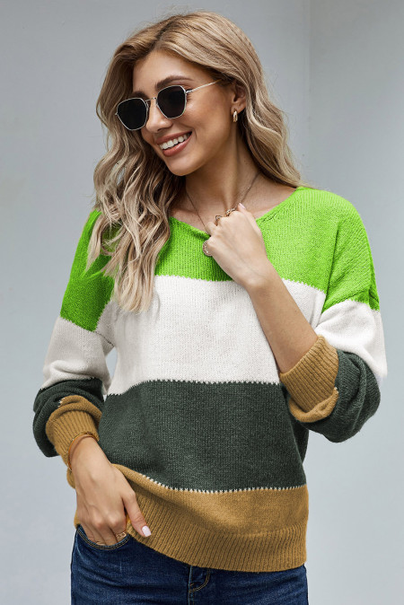 Green Pullover Colorblock Winter Sweater