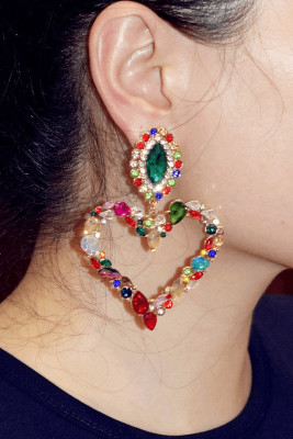 Multicolor Heart-shaped Crystal Rhinestone Earrings