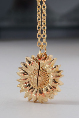 Collar colgante de girasol de oro You Are My Sunshine