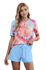 Sky Blue Tie Dye Printed Short Lounge Set
