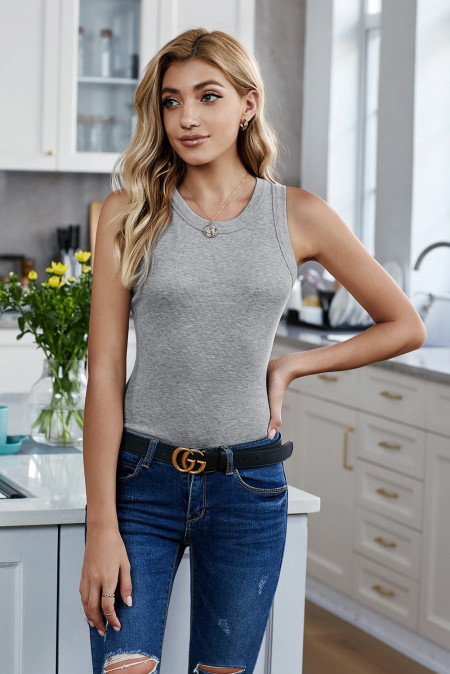 Solid Gray Round Neck Ribbed Tank Top
