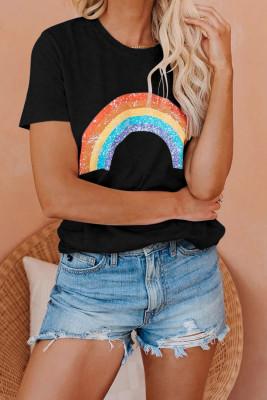 Camiseta de arcoiris negro con olla de oro