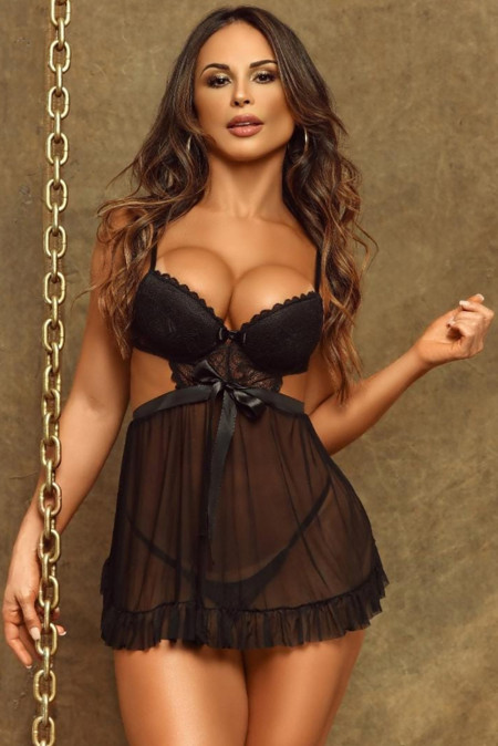 Black Allure Me Lace Babydoll Set