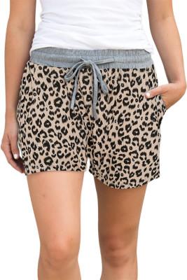 Short kaki imprimé léopard avec cordon de serrage