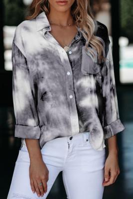 Camisa cinza Whirlwind Tie Dye botão com bolso