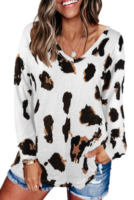 White Long Sleeves Leopard Print Blouse