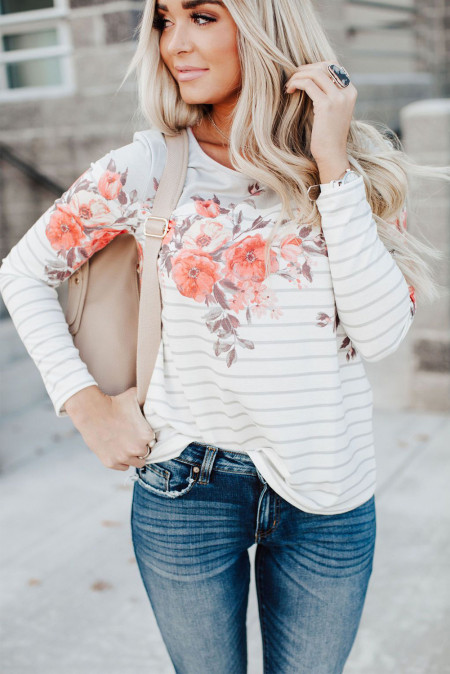 Floral Striped Print Long Sleeve Top