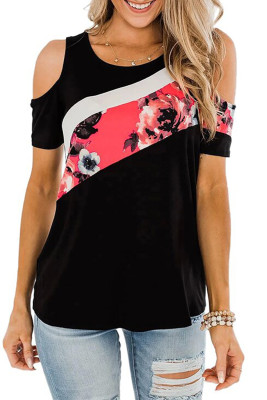 Floral Colorblock Cold Shoulder Top