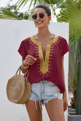 Wine Short Sleeve Printed Neck Shift Blouse