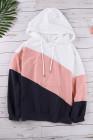 Sudadera con capucha rosada con cordón colorblock