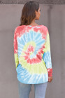 Tintura de ombro azul céu Ombre solta camisola de lazer