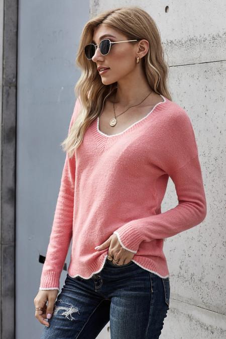Rosa gewellter Pullover mit V-Ausschnitt