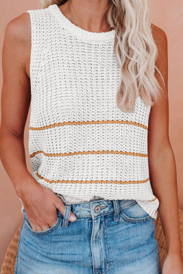 White Knit Tank Top with Stripes