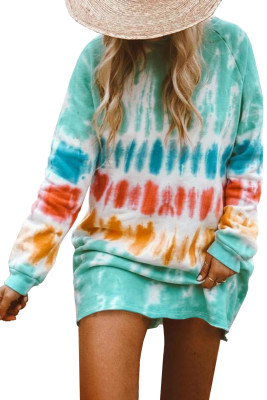 Fashion Tie Dye Long Sleeve Sweatshirt Dress