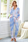 Blue Tie-dye Long Sleeve Shirt with Pants Lounge Set