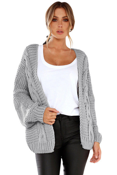 Gray Chunky Wide Long Sleeve Knit Cardigan