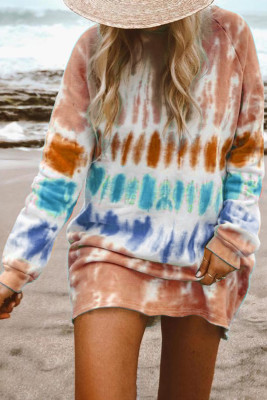 Tie Dye Long Sleeve Sweatshirt Dress