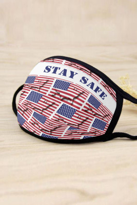 Red Stay Safe US Flag Breathable Comfort Face Mask