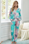 Multicolor Tie-dye Long Sleeve Shirt with Pants Lounge Set